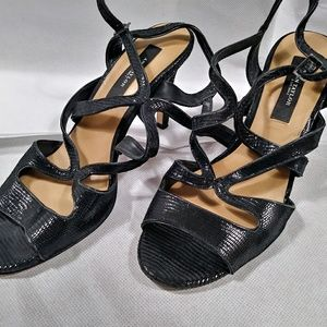 "ANN TAYLOR Textured Leather 6.5M 4"" Slingback"